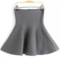 Grey Knitted Flare Mini Skirt