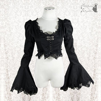Bolero Victorian, steampunk, black shrug, gothic, goth, Somnia Romantica, approx size extra small, see item details for measurements