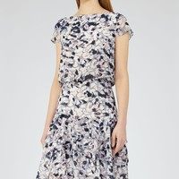 Annah Multi Pink Printed Tiered Dress - REISS