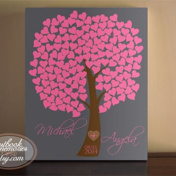 Diy Fingerprint Signature Tree Canvas Painting Baby Birds For Framed Wedding Guest Book