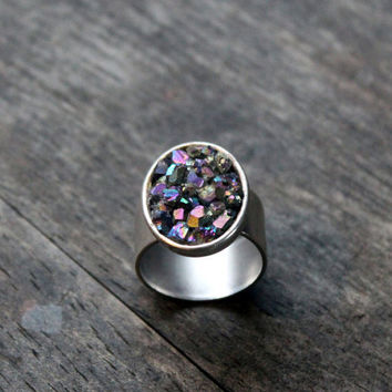 Oval titanium aura quartz & silver adjustable statement ring-rainbow quartz cocktail ring-thick band bezel set gem-multi colored stone ring