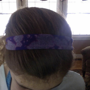 Relay for life purple cancer headband, reverse tie dye