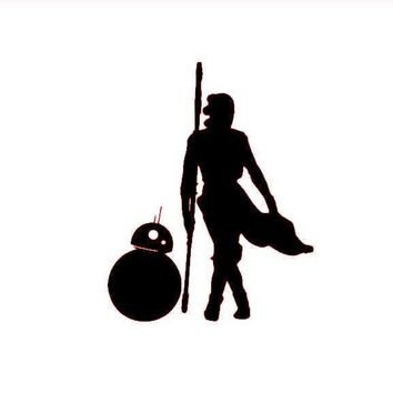 Star Wars Force Awakens Rey and BB8 Silhouette Vinyl Decal Sticker