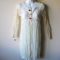 90s Grunge Cream & White Lace Babydoll Dress, Kinderwhore Romantic Boho Hippie Goth -- New With Tags, NOS