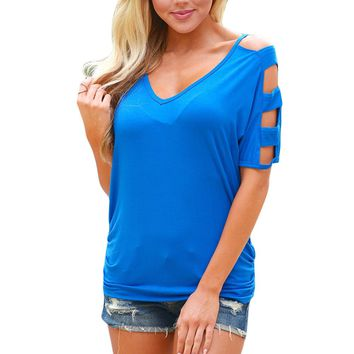 Chicloth Blue Cold Shoulder Ruched Sides T-shirt