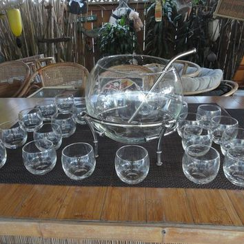 Punch/Drink bowl Bamboo metal stand 20 glasses