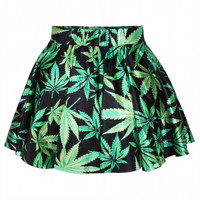 Aoki Fashion - Green Weed Leaves Print High-waisted Flared Skirt