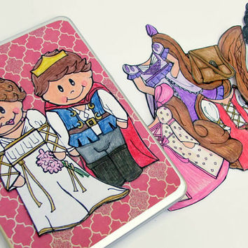 Rapunzel Princess Paper Doll, A handdrawn Magnetic Paper Doll Set with Characters and Dress-ups