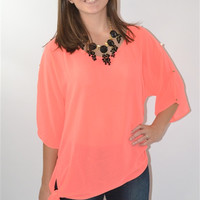 Studded Sleeve Top (Coral)