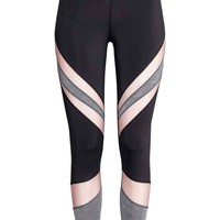 Yoga tights - Black/Powder pink - Ladies | H&M GB
