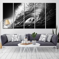 25242 - Black and White Waves Art Canvas Print