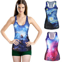 est blue red galaxy Tank for women print 3d Harajuku tank sleeveless shirt