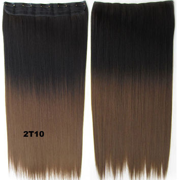 "Dip dye hairpieces New Fashion 24"" Women Clip in on gradient wig Bath & Beauty Hair Ombre Hair Extensions Two Tone Straight hair Gradient Hair Extension Colorful Hairpieces GS-666 2T10,1PCS"