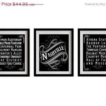 ON SALE Nashville, Tennessee, Typography Art Posters - Set of 3 - 8X10 - Chalk Art - Nashville's Attractions Wall Art Decoration - 021-S3-8