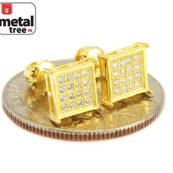 Jewelry Kay style Men's Hip Hop Iced Out 8mm Block Square Flat Screen Screw Back Stud Earrings 546