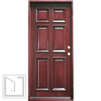 "6-Panel, Prehung and Prefinished Entry Door, 36""x80"", Mahogany"