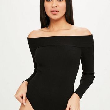 Missguided - Black Bardot Turnback Knitted Bodysuit
