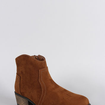Bamboo Suede Almond Toe Cowgirl Booties