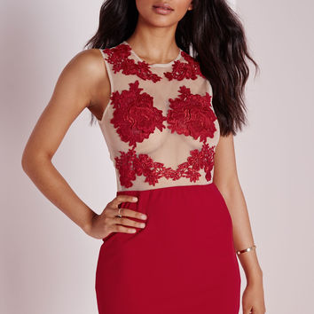Red Floral Crochet Patch Sleeveless Mini Dress