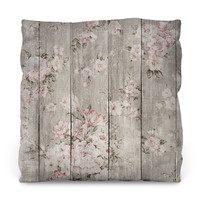 Wood Texture Floral Outdoor Throw Pillow