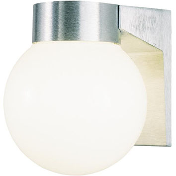 One-Light Outdoor Wall Lantern, Brushed Aluminum Finish on Cast Aluminum with White Threaded Glass Globe