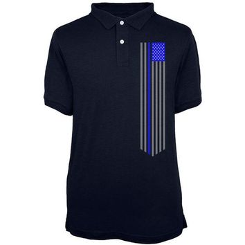 DCCKU3R Blue Lives Matter Thin Line Flag Mens Polo T Shirt