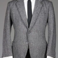 Vintage 60s Custom Wool Tweed Fleck Herringbone Blazer/Jacket 42 S Monkey Suit