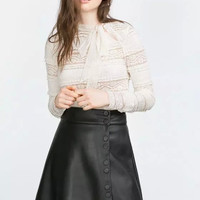 Casual Black Faux Leather Button Down A-Line Mini Skirt