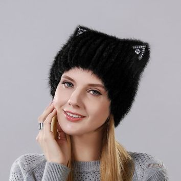 Winter Mink fur Cute cat ears Square cap With Sequins Warm Winter For Women Real Natural Mink Fur Vertical Weaving Winter Hat