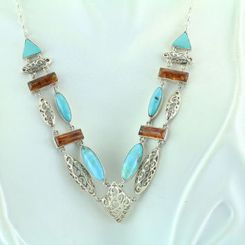 Turquoise & Amber Sterling Silver Necklace