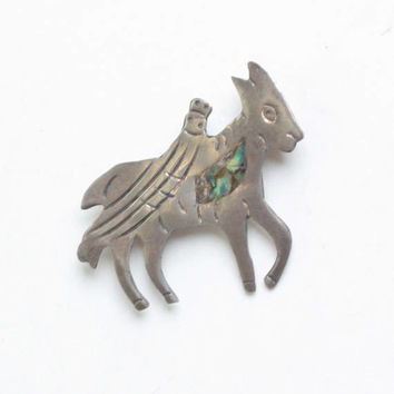 Sterling Donkey Pin Abalone Taxco Mexico