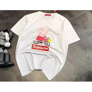 Supreme & Peppa Pig co-branded fashion wild men and women with the same bike T-shirt F-A-HRWM white