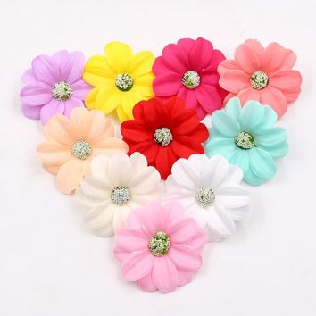 10pcs 5.5cm Artificial Silk high quality sunflower flower head wedding decoration DIY wreath gift box clip art fake flowers
