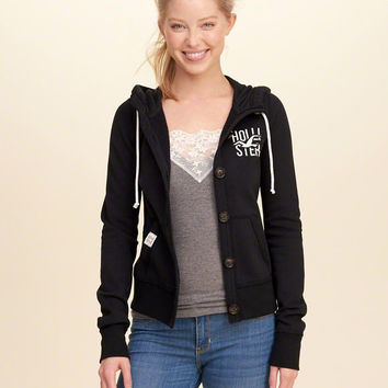 Girls Button-Front Logo Graphic Hoodie | Girls Tops | HollisterCo.com
