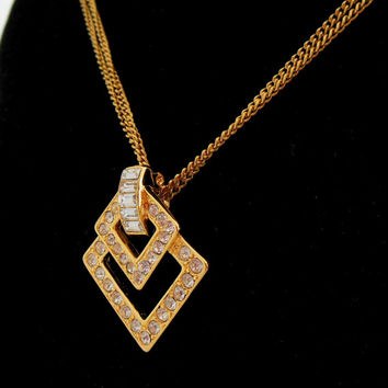 Kenneth J Lane Necklace Rhinestone Gold Double Square