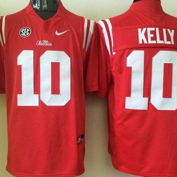 Ole Miss Rebels KELLY #10 College  Ice Hockey Jerseys Size M,L,XL,XXL,3XL DCCK