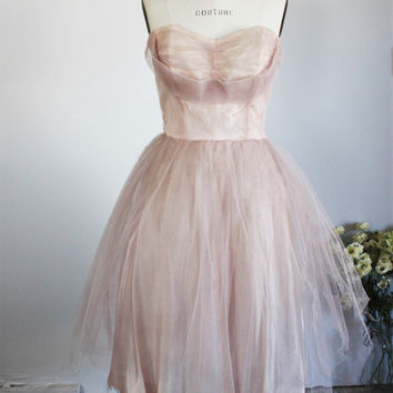 Vintage 1940s Pink Prom Dress Worn By Pia Zadora in Voyage of The Rock Aliens