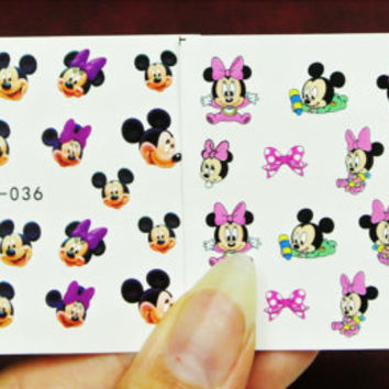 2 sheets Minnie Mouse Nails, Mickey Mouse,  Purple Bows, Nail Decals, Nail Art, water transfer, Minnie Bows, Baby Minnie, Nail Decoration