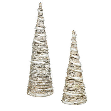 Glitter Spun Silver Light-Up Holiday Christmas Tree Figurines - Set of 2