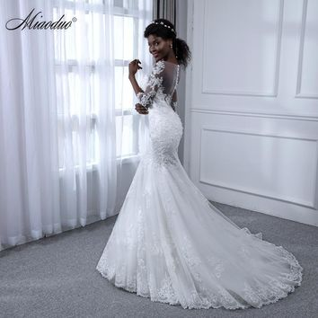 Miaoduo Vestido de Noiva Manga Longa Mermaid Pearls Lace Wedding Dresses Sexy Sweetheart Wedding Gowns Bridal Wedding Dress