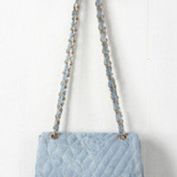Floral Quilted Denim Clutch Bag