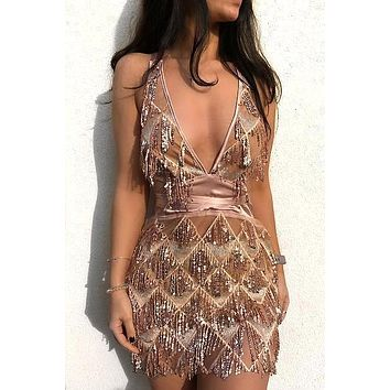 Say My Name Gold Sequin Fringe Dress(Ready to ship)