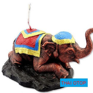 OTOP Fancy scented candles - carved squat elephant