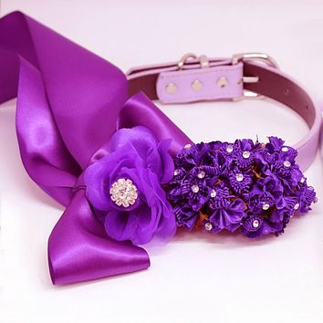 Ultra Violet Wedding Dog Collar, High Quality Rose Flowers, Pet Wedding Accessory