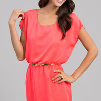 Short Belted Dress with Short Sleeves