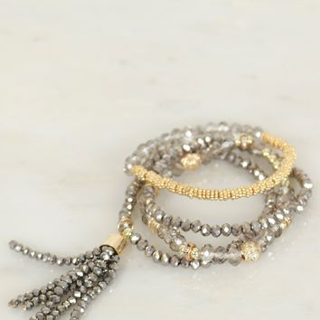 Beaded Bracelet Set Gold/Grey