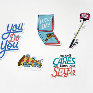 Stick With it- Illustrated Sticker Pack of 5