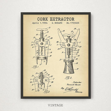 Cork Extractor Patent Print, Digital Download, Wine Cork Screw, Wine Tour Art, Wine Art Poster, Winery Wall Art, Bacchus Dionysus, Blueprint