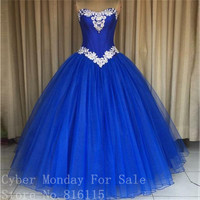New Style Royal Blue Ball Gown Prom Dresses 2017 Custom Made Sweetheart Lace Appliques Evening Party Dress Formal Gowns