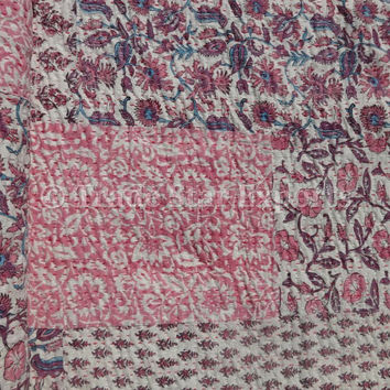 Twin Size Block Print Kantha Quilt, Handmade Patchwork Bedspread, Reversible Kantha Throw, Pink Color Theme, Floral Printed Bed Cover
